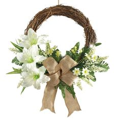 Amazon.com: LED Lighted Lily Wreath with Bow: Home & Kitchen
