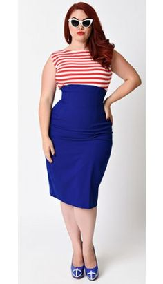 Glamour Bunny Plus Size 1950s Red, White & Blue Stripe Lena Stretch Sailor Pencil Dress