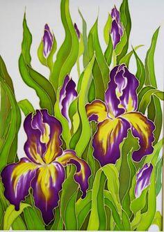 Irises, Silk painting- Varvara Harmon