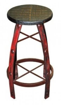 Iron & Wood Red Scraped Barstool | Rustic Furniture | Western Furniture