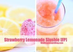 Amazing strawberry lemonade slushy recipe! ~~ YUMMY! We used 1.5 lemons, 3/4 c water, and two packets of sweetener.