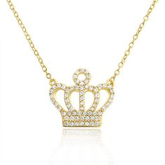 $32.99 Bling Jewelry Gold Vermeil Pave CZ Royal Crown Pendant Necklace 18 Inches