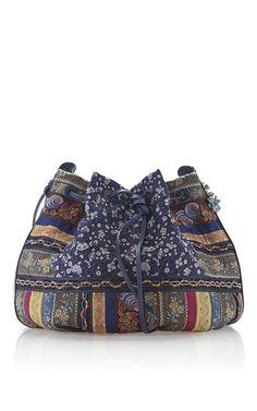Blue Haberdashery Ribbon Drawstring Bucket Bag by ETRO for Preorder on Moda Operandi
