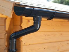 Guttering, including running outlet, offsend bends and round downpipe. Shed Type Roof, Plastic Guttering, Pvc Gutters, Diy Home Repair, Kit, Track Lighting, Ceiling Lights, Cool Stuff, Water