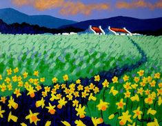 Field Of Daffs Painting by John  Nolan
