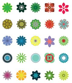 Illustrator vector flower symbols    There are twenty five original and free, Illustrator flower symbols to use as you like.