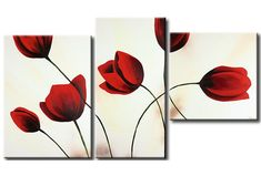 Hand-painted modern home wall art living bed room decoration abstract Blooming dark Red Corn poppy flower oil painting on canvas