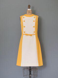 vintage 1960s dress / 60s dress / yellow mod dress / SUNSHINE SUPERWOMAN