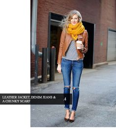 Leather Jacket Denim and Chunky Scarf