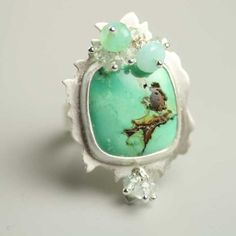 Green Turquoise Ring Sterling Silver Aquamarine Peruvian Opal Clusters found on Polyvore