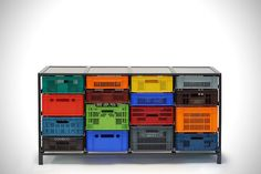 Recylced Plastic Crates Turned Home Storage Solution
