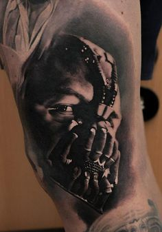 Black and Grey Bane Tattoo by Denis Sivak