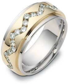 9mm Two-Tone Gold Diamond SPINNING Comfort Fit Wedding Band from Elite Jewels