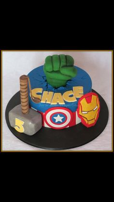 The complete avengers cake/thor/hulk/ironman/captainamerica/nameofkid&age by PinkBoxSweets on Etsy https://www.etsy.com/listing/239709224/the-complete-avengers