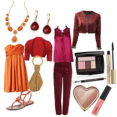 Theatrical romantic, warm spring coloring, pear body shape