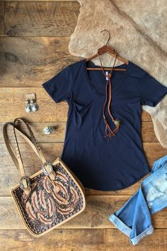 - The perfect pocket tee - Navy - Distressed soft feel - Deep v-neck - Slouchy accent pocket - Rounded hem - Good length - Relaxed fit with slightly tapered at true waist for a very flattering fit - X