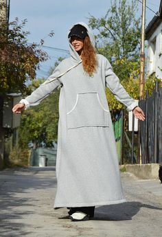 Casual Hooded Maxi Dress Plus Size Clothing New Winter