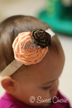 baby headband - satin peach and brown rosettes with spotted feather and pearl setting