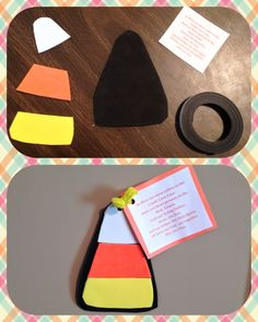 Trinity Candy Corn Craft. Cut out candy corn pieces in black, orange, yellow and white craft foam. Glue pieces together with craft glue and stick strip magnets to the back. Punch a hole in the top and attach the poem(I got my copy at teachingwithtlc.com).