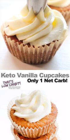 Keto Vanilla Cupcakes Keto Vanilla Cupcakes bring a simple, classic flavor to your next get-together without all the carbs. Time to celebrate, Keto style! Low Carb Keto, Low Carb Recipes, Real Food Recipes, Diet Recipes, Slimfast Recipes, Healthy Recipes, Low Carb Cupcakes, Sugar Free Cupcakes, Sugar Free Muffins