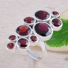 GARNET CUT 925 SOLID STERLING SILVER LADIS RING 12.30g R01365 #Handmade #RING