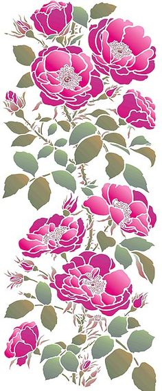 Roses from stencils....this would look so pretty going up my wall.