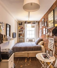 60 DIY Small Apartment Decorating Ideas on A Budget - Homemainly Small Apartment Bedrooms, One Room Apartment, Small Apartment Design, Apartment Bedroom Decor, Studio Apartment Decorating, Small Apartments, Small Spaces, Tiny Bedrooms, Apartment Layout