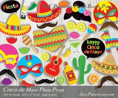 Photo booth props Cinco de Mayo Fiesta printable, sombrero, luchador masks, poncho, Mexican fiesta party instant download PP023