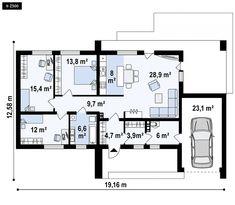A to wyjątkowy dom z kategorii projekty domów do 110 Home Projects, My House, House Plans, Sweet Home, Floor Plans, How To Plan, Luxury, Design, Houses