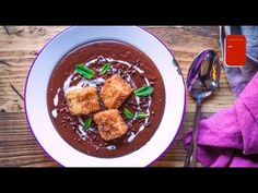Chocolate Soup & Cinnamon Croutons