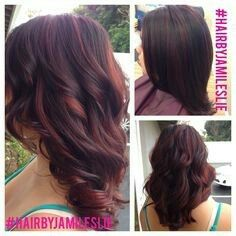 Black hair with mahogany highlights accentuated with swirling side violet mahogany base with red violet balayaged highlights took off 6 inches and shortened her layers for more movement and volume hair by jami leslie pmusecretfo Images