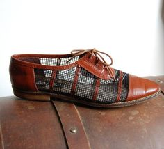 Mahogany Leather and Mesh Lace Up Oxford Flats