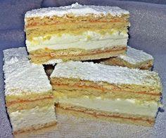 TraRita sütödéje és egyéb munkái : Mimóza szelet Peach Yogurt Cake, Cake Recipes, Dessert Recipes, Hungarian Recipes, Pancakes And Waffles, Sweet And Salty, Vegan Dishes, Vanilla Cake, Food And Drink