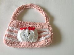 Hand Knitted Girls Bag  Handmade Bag  Pink Girls by MarianaPandi