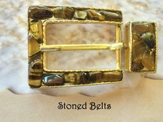 Gold Belt Buckle with Gold Tiger's Eye Gemstones in by StonedBelts