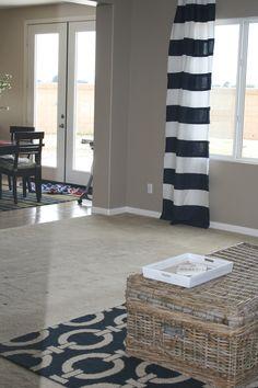 navy and white horizontal stripe drapery