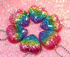 colored hearts | ... also!: Best Rainbow Glitter Hearts Necklaces Ever - available now