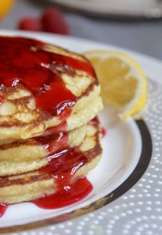 close up of lemon ricotta pancakes with raspberry syrup dripping down Breakfast Pancakes, Breakfast Snacks, Breakfast Bake, Breakfast For Dinner, Breakfast Dishes, Breakfast Recipes, Breakfast Ideas, Brunch Ideas, Brunch Recipes