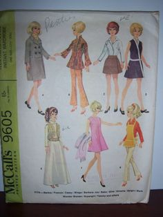 Vintage Barbie Skipper Doll Sewing Patterns McCall's 9605 #McCall
