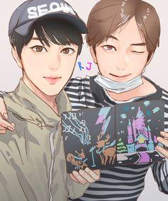 Namjin, Seokjin, Hoseok, Anime Drawings Sketches, Bts Drawings, Jikook, Baby Spiderman, Baby Fan, Jimin Pictures