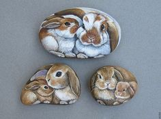 Bunny Mother and Baby hand Painted on the Rock Hase + Mutter + und + Baby + handbemalt + auf + den + Felsen … Etsy-Shop. Pebble Painting, Pebble Art, Stone Painting, Painting Art, Stone Crafts, Rock Crafts, Arts And Crafts, Diy Crafts, Painted Rock Animals