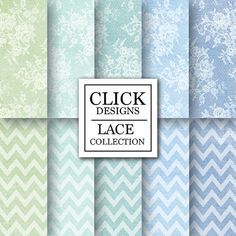 Lace Digital Paper: BLUE GREEN LACE scrapbook lace by ClickDesigns