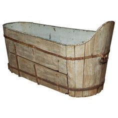 Antique Wooden and Copper Bath