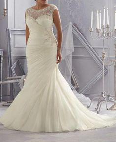 Ruched Mermaid Wedding Dress Bridal Gown Custom Plus Size 16 18 20 22 24 26 28+