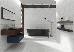Decorating Around Garish Bathroom Tiles: Bringing Manners to Walls that Talk Too Much Bathtubs For Sale, Matte Material, Helsingborg, Wall Finishes, Commercial Flooring, Bern, Carrara, Porcelain Tile, Wall Tiles