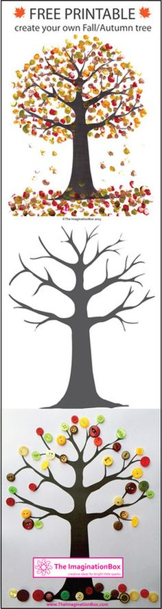 Print this free Tree Template from The ImaginationBox to create your own beautiful Fall/Autumn tree art using fingerprinting or buttons Autumn Activities, Art Activities, Educational Activities, Fall Crafts, Arts And Crafts, Autumn Art Ideas For Kids, Holiday Crafts, Projects For Kids, Art Projects