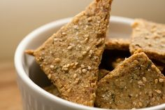 Paleo crackers -- made with almond flour, egg, olive oil, and herbs or spices. We need a good crunchy snack cracker like this!