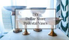 DIY Dollar Store Pedestal Vase for Centerpiece http://linenandsalt.com/2016/01/diy-dollar-store-pedestal-vase/