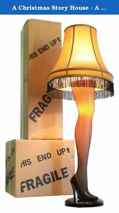 "A Christmas Story House - A Christmas Story Full Size 45"" Leg Lamp, Cream. This beautiful 45-inch Full Size Leg Lamp has the authentic look of the leg lamp featured in A Christmas Story. This Leg Lamp has a sleek attractive curve and design to the leg. It also show cases a golden gallery shade with black fringe, a sexy fishnet stocking, and an elegant stiletto heel. Sure to be the center piece of any front room window. The leg and socket under the lampshade light up independently or…"