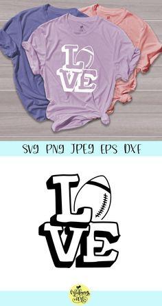 Love Football (Graphic) by MidmagArt · Creative Fabrica Football Shirts, Sports Shirts, Football Moms, Football Players, Vinyl Designs, Shirt Designs, Football Silhouette, Sport Shirt Design, School Spirit Shirts